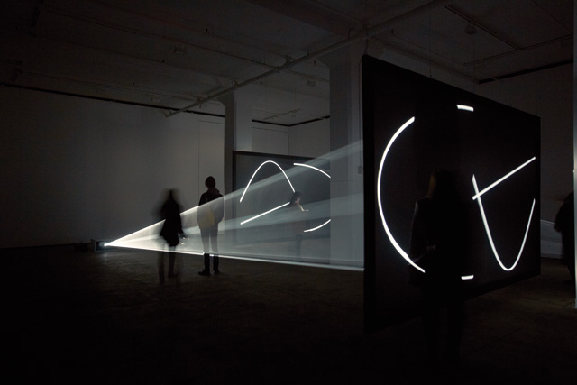 Anthony McCall. Face to Face, 2013. Installation view, Sean Kelly Gallery, New York.