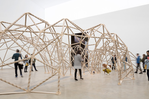 Niamh McCann. Just Left of Copernicus. Installation view (2) of exhibition, VISUAL Carlow, September 2015. Cardboard, plywood. Photograph: Aisling McCoy.