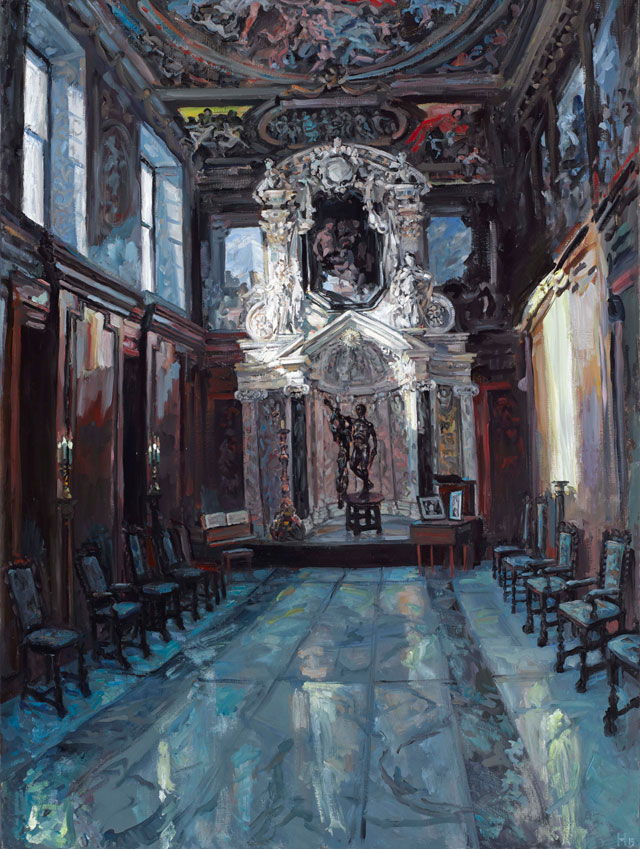 HectorMcDonnell. Chatsworth Chapel,  Oil on canvas, 40 x 30 ins.