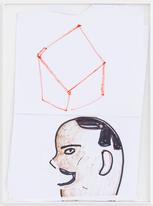Rose Wylie. Arab Head and Box, year unknown. Ink and coloured pencil, 33.5 x 25 x 1.5 cm. Photograph: Damian Griffiths.