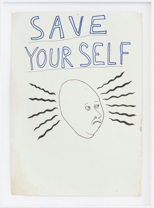 Saul Adamczewski. Save Yourself!, year unknown. Ink on paper, 33.5 x 25 x 1.5 cm. Photograph: Damian Griffiths.