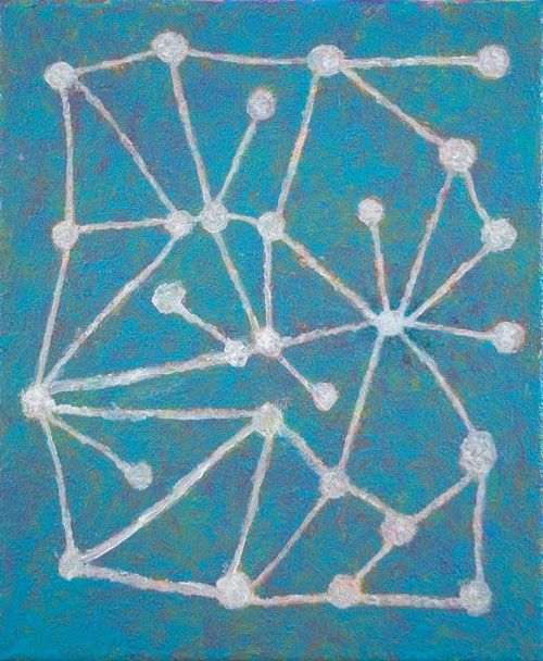 Abigail McLellan. Molecules On Blue, 2009. Acrylic on canvas, 30 x 25 cm.