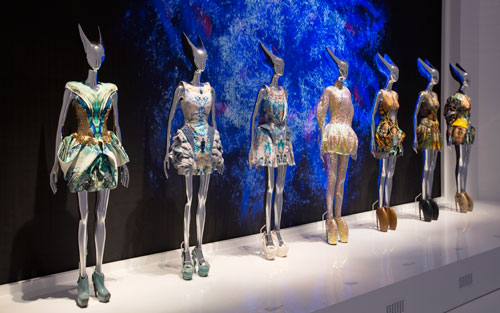 Installation view of Platos Atlantis gallery. Alexander McQueen Savage Beauty at the V&A, 2015. Victoria and Albert Museum, London.