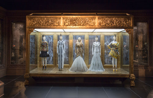 Installation view of Romantic Gothic gallery. Alexander McQueen Savage Beauty at the V&A, 2015. Victoria and Albert Museum, London.