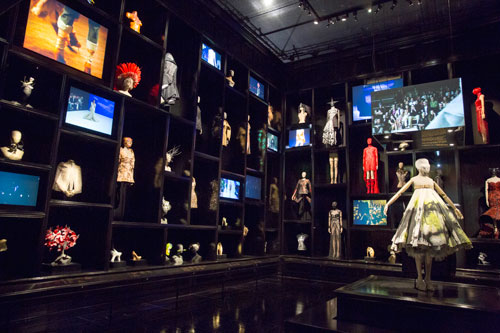 Installation view of  Cabinet of Curiosities gallery. Alexander McQueen Savage Beauty at the V&A, 2015. Victoria and Albert Museum, London.