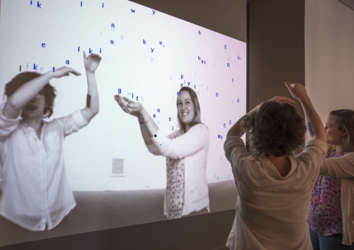 Camille Utterback and Romy Achituv. Text Rain, 1999. Single channel interactive projection, Museum purchase made possible by the American Art Forum Smithsonian American Art Museum. © 1999 Camille Utterback and Romy Achituv.
