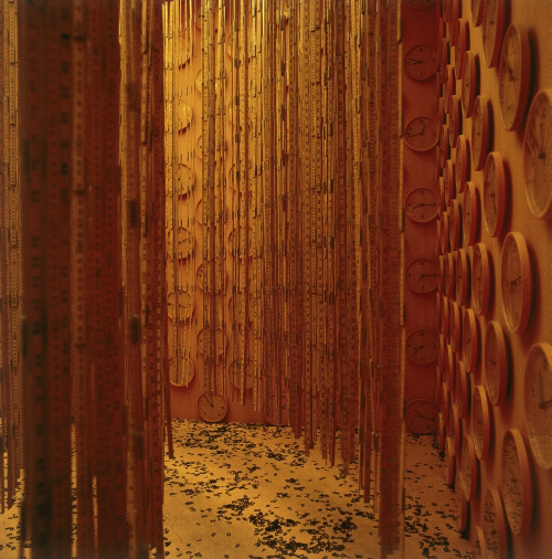 Cildo Meireles. <em>Fontes</em>, 1992. Approximately 6,000 carpenter's rules, 1,000 clocks, 500,000 vinyl numbers, soundtrack, 300 x 600 x 600 cm. © Cildo Meireles