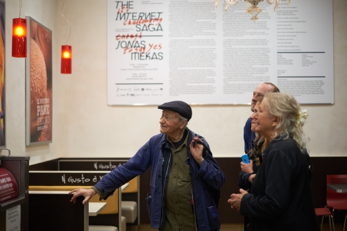 Jonas Mekas. The Internet Saga. Burger King Opening. Photograph: Giulio Favotto - Otium.