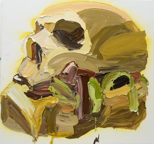 Ben Quilty. <em>Skull-Burger 2</em>, 2006. Oil and aerosol on linen 150.0 x 160.0 cm. Image courtesy of the Jan Murphy Gallery.