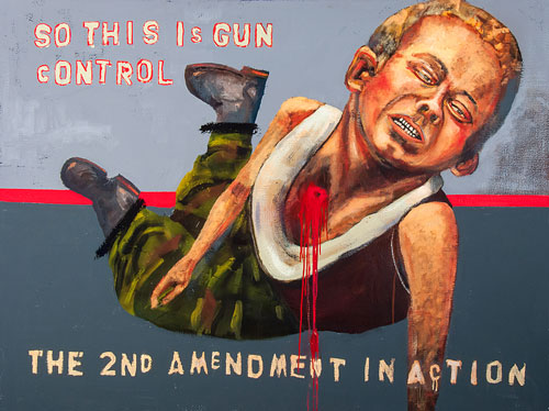 John Mellencamp. Gun Control, 2013. Oil on canvas, 53.5 x 72 in. Image courtesy of the artist. © John Mellencamp.