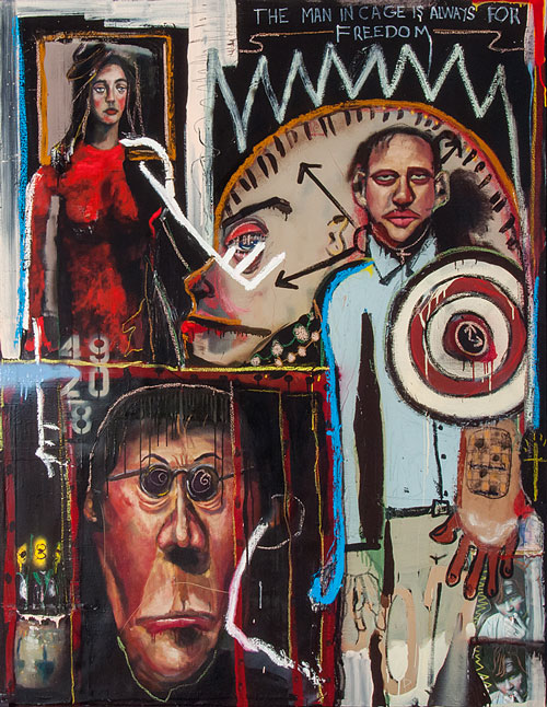 John Mellencamp. Man in the Cage, 2008. Mixed media/canvas, 72 x 56 in. Image courtesy of the artist. © John Mellencamp.