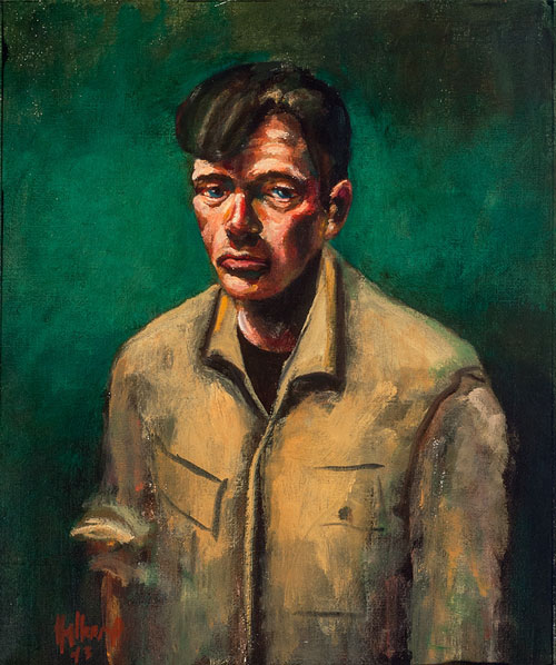 John Mellencamp. Self with Green Background, 1993. Oil on canvas, 28 x 25 in. Image courtesy of the artist. © John Mellencamp.