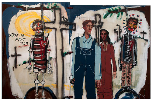 John Mellencamp. Strange Fruit, 2006.  Mixed media/canvas, two panels  60 x 42, 58 x 55 in. Image courtesy of the artist. © John Mellencamp.