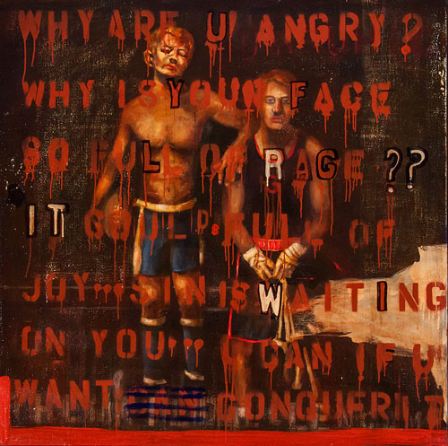 John Mellencamp. Why Are U Angry? 2013. Mixed media/canvas, 48 x 48 in. Image courtesy of the artist. © John Mellencamp.