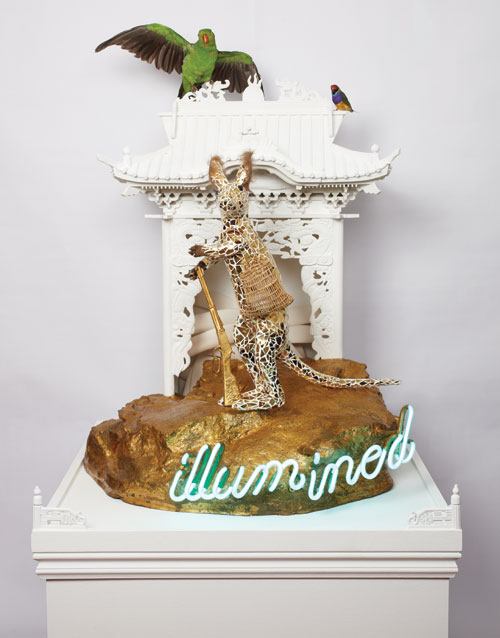 Danie Mellor. Advance Australia fair, 2009/2013. Taxidermy, mosaic china, painted timber, artificial rock, gold leaf, neon and found objects, 152 x 74 x 78 cm. Collection of the artist.