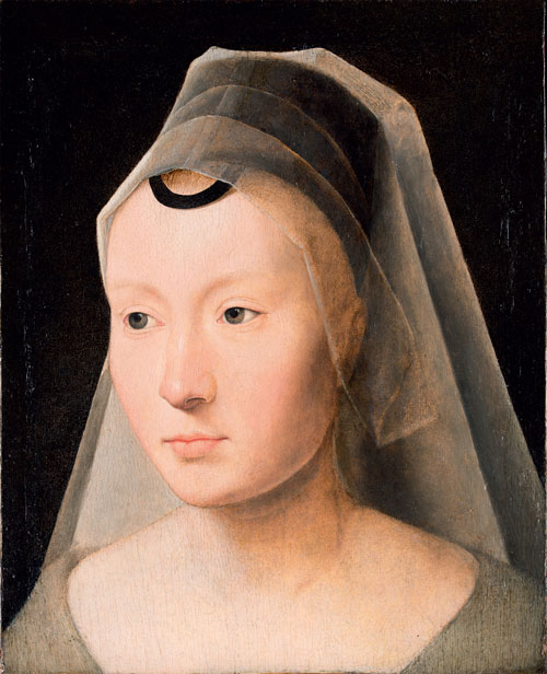 Hans Memling. Portrait of a woman (fragment), c1480-1485. Oil on board, 23.2 x 18.4 cm. Collection Ambasciatore J. William Middendorf II.