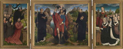 Hans Memling. Triptych of the Moreel Family, 1484. Altarpiece for the altar of Saints Maurus and Giles in the Church of Saint James in Bruges. Oil on board, Bruges, Stedelijke Musea, Groeningemuseum.