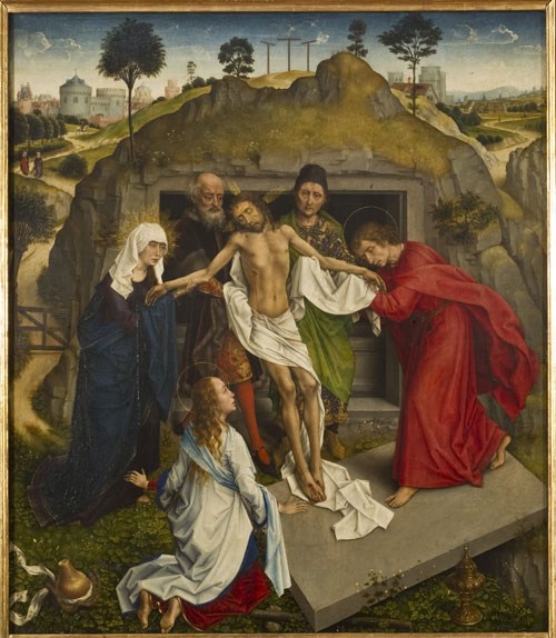 Rogier van der Weyden (e aiuti). Lamentation over the Dead Christ, 1460-1465. Oil on board, 111 x 95 cm. Firenze, Galleria degli Uffizi.