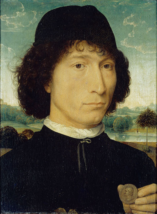 Hans Memling. Portrait of a Man with a Roman Coin (Bernardo Bembo?), c1473-1474. Oil on oak panel, 31 x 23.2 cm. Anversa, Koninklijk Museum voor Schone Kunsten.