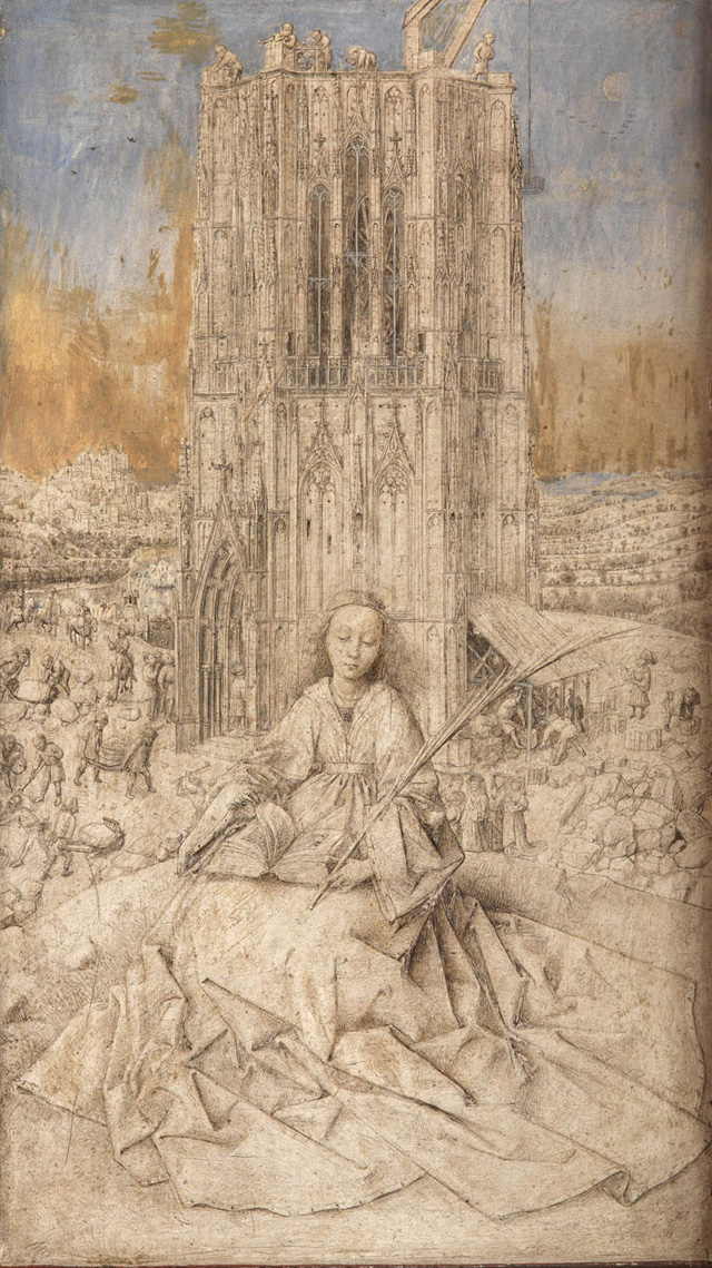 Jan van Eyck. Saint Barbara, 1437. Metalpoint, brush drawing, and oil on wood, 16 3⁄8 × 11 × 2 3⁄8 in (41.5 × 27.8 × 6 cm). Koninklijk Museum voor Schone Kunsten, Antwerp.