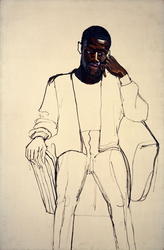 Alice Neel. James Hunter Black Draftee, 1965. Oil on canvas, 60 × 40 in (152.4 × 101.6 cm). COMMA Foundation, Belgium. © The Estate of Alice Neel.