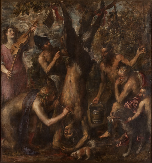Titian (Tiziano Vecellio), The Flaying of Marsyas, probably 1570s. Oil on canvas, 86 5⁄8 × 80 1⁄4 in (220 × 204 cm). Archdiocese Olomouc, Archiepiscopal Palace, Picture Gallery, Kromĕříž.