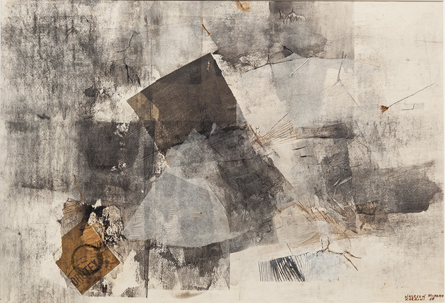 Nasreen Mohamedi. Untitled, 1969. Collage and watercolour on paper, 13 3/4 × 20 in (34.9 × 50.8 cm).