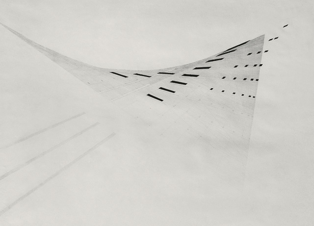 Nasreen Mohamedi. Untitled, c1975. Ink and gouache on paper, 19 × 24 in (48.3 × 61 cm). Jayshree and Sanjay Lalbhai.