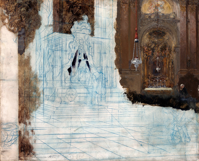 Adolph Menzel. Altar in a Baroque Church, c1880–90. Oil and blue pencil on oak, 19 5/8 × 24 in (50 × 61 cm). Staatliche Museen zu Berlin, Nationalgalerie.