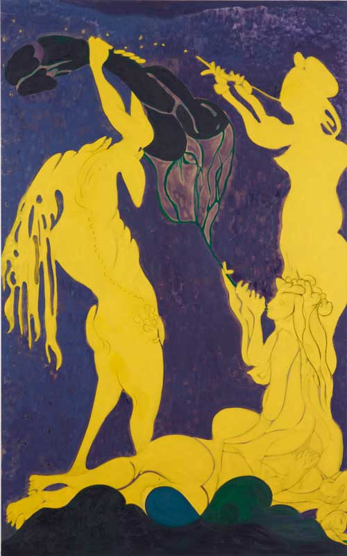 Chris Ofili. Ovid - Actaeon, 2011-12. Oil on charcoal on linen, 318 x 198.5 x 4 cm. Courtesy the Artist and Victoria Miro Gallery, London. © Chris Ofili Courtesy the Artist and Victoria Miro Gallery, London. Photography © Stephen White.