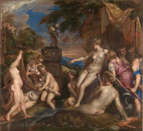 Titian. Diana and Callisto, 1556-59. Oil on canvas. Bought jointly by the National Gallery and National Galleries of Scotland with contributions from the National Lottery through the Heritage Lottery Fund, the Art Fund, The Monument Trust and through private appeal and bequests, 2012. Photograph © The National Gallery, London/The National Galleries of Scotland.