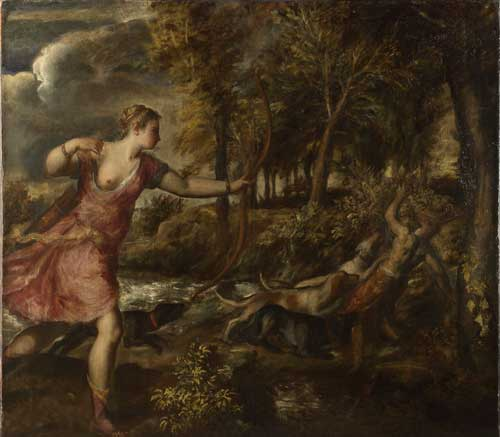 Titian. The Death of Actaeon about 1559-75. Oil on canvas, 178.8 x 197.8 cm. Bought with a special grant and contributions from The Art Fund, The Pilgrim Trust and through public appeal, 1972. Photograph © The National Gallery, London.