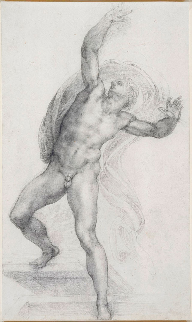 Michelangelo. The Risen Christ, about 1532-3. Black chalk on paper, 37.2 × 22.1 cm. Royal Collection Trust. © Her Majesty Queen Elizabeth II 2017.