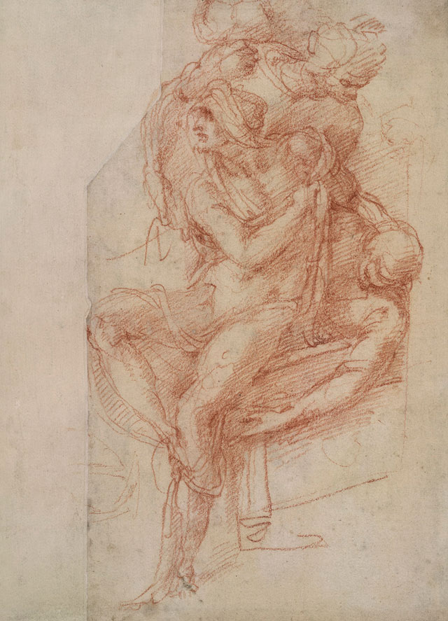 Michelangelo. Lazarus with his right arm held across his chest, draped in a shroud; the upper part of Lazarus's body (upside down), probably 1518. Red chalk on paper, 25 × 18.3 cm. The British Museum, London. © The Trustees of The British Museum.