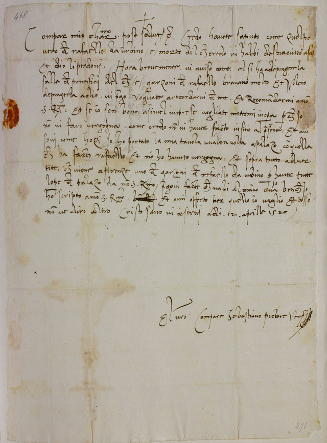 Letter from Sebastiano del Piombo in Rome to Michelangelo in Florence, 12 April 1520. © Casa Buonarroti, Florence.