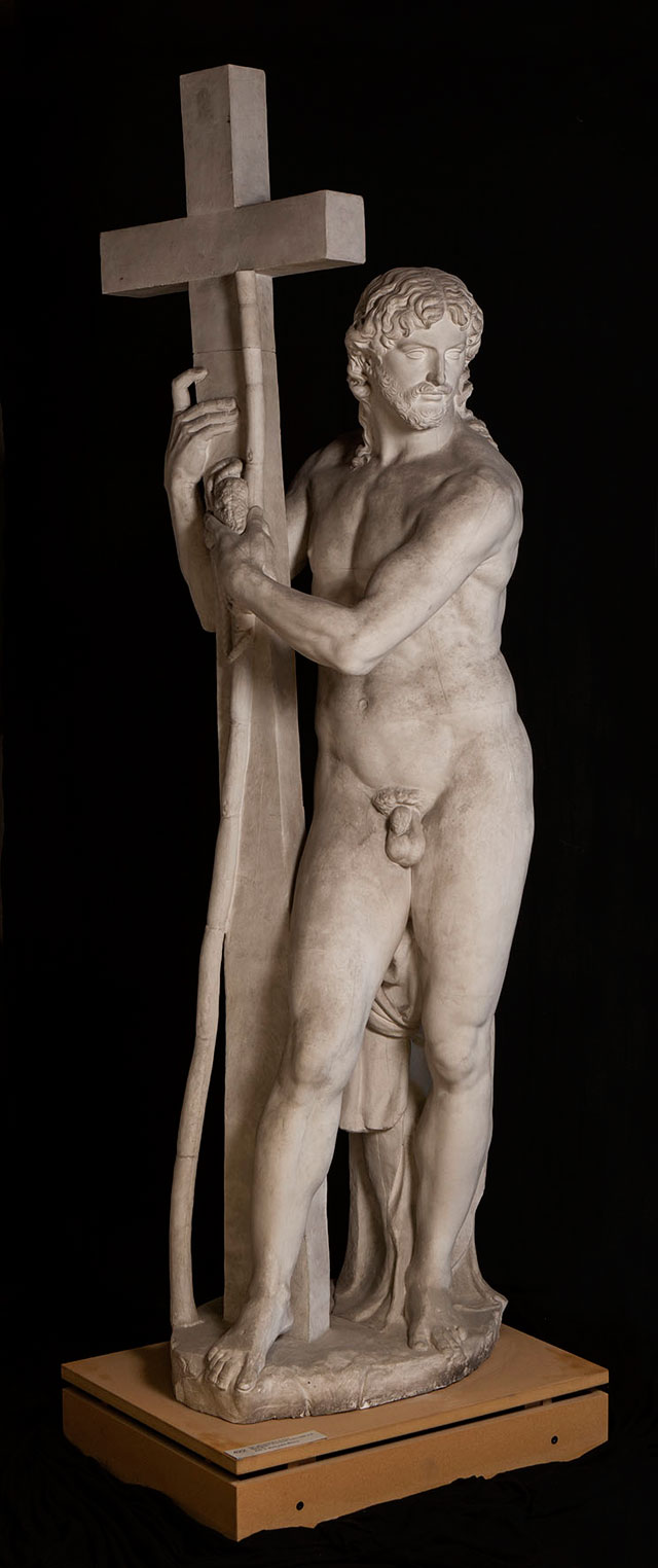 After Michelangelo. The Risen Christ, c1897-8 (copy after the Risen Christ, 1519-21, Santa Maria sopra Minerva, Rome). Plaster cast from approximately eight piece moulds consisting of approximately 81 individual pieces, 251 × 74 × 82.5 cm. Statens Museum for Kunst, Copenhagen. © SMK. Photograph: Jakob Skou-Hansen.