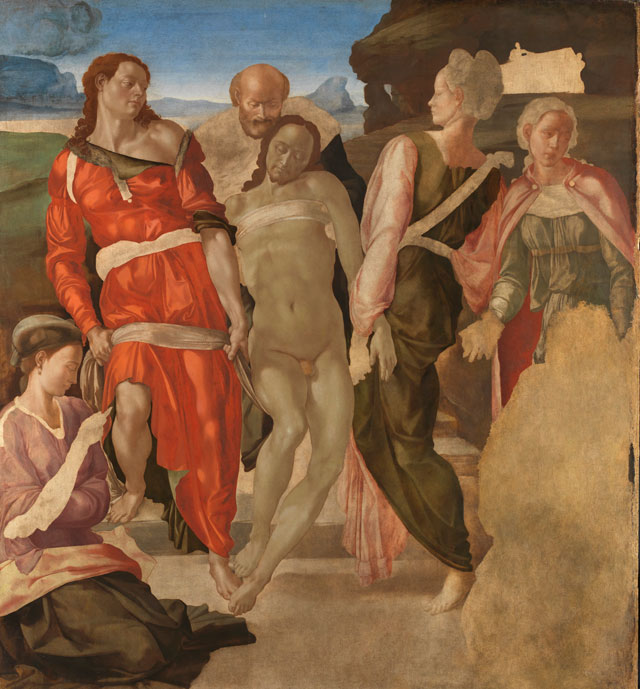 Michelangelo. The Entombment (or Christ being carried to his Tomb), c1500-1. Oil on poplar, 161.7 x 149.9 cm. © The National Gallery, London.