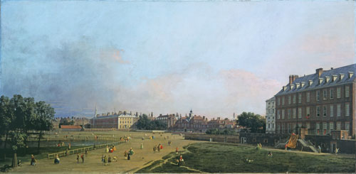 Canaletto. <em>London: The Old Horse Guards from St James's Park</em>, c1749. Tate. Lent by The Andrew Lloyd Webber Foundation.