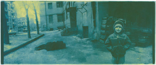 Boris Mikhailov. At Dusk (Series), 1993–2000. One of a series of 110 photographs, gelatin silver prints, blue hand toned, each 5 1/8 x 11 ¾ inches (13 x 29.5 cm).