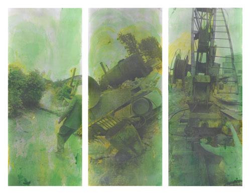 Boris Mikhailov. Green (Series), 1991-1993. Untitled. Gelatin silver prints, hand coloured with aniline. Triptych overall 104 x 118 inches (264 x 300 cm). Unique.