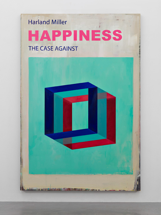 Harland Miller. Happiness The Case Against, 2016, Oil on canvas, 300 x 203 cm. Courtesy the artist and Blain Southern. Photograph: Peter Mallet.
