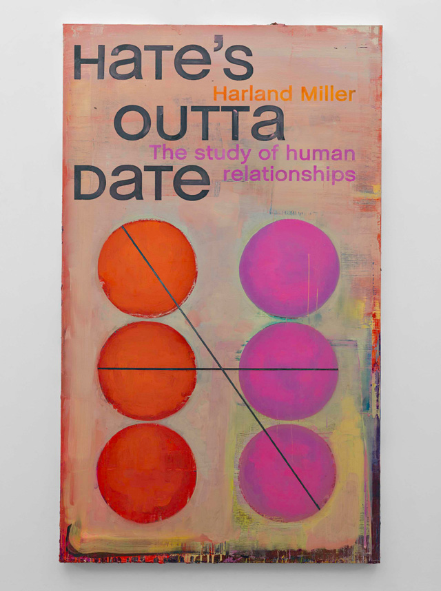Harland Miller. Hate's Outta Date, 2016. Oil on canvas, 250 x 149 cm. Courtesy the artist and Blain Southern. Photograph: Peter Mallet.