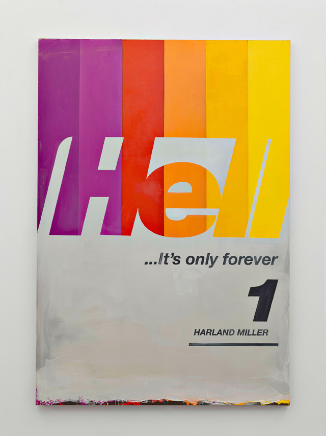Harland Miller, Hell Its Only For Ever, 2016. Oil on canvas, 223.5 x 155 cm. Courtesy the artist and Blain Southern. Photograph: Peter Mallet.