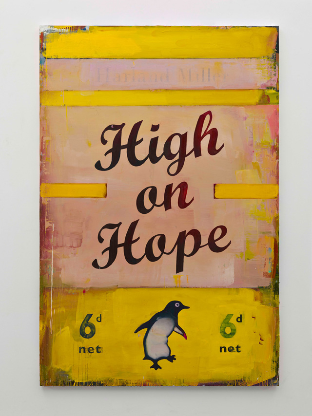 Harland Miller, High On Hope, 2016. Oil on canvas, 235 x 155.5 cm. Courtesy the artist and Blain Southern. Photograph: Peter Mallet.