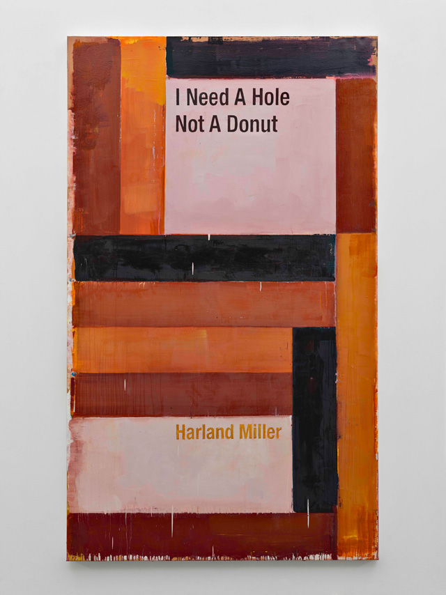 Harland Miller, I Need A Hole Not A Donut, 2016. Oil on canvas, 250 x 148 cm. Courtesy the artist and Blain Southern. Photograph: Peter Mallet.