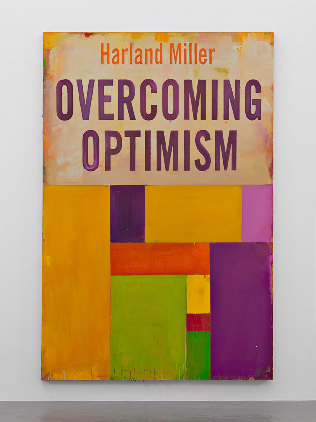 Harland Miller, Overcoming Optimism, 2016. Oil on canvas, 276 x 183.5 cm. Courtesy the artist and Blain Southern. Photograph: Peter Mallet.