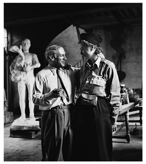 Lee Miller. Pablo Picasso and Lee Miller after the liberation of Paris, Rue de Grand Augustins, Paris, France, 1944. Photograph: Lee Miller. © Lee Miller Archives, England 2015. All rights reserved. ©Succession Picasso/DACS, London 2015.