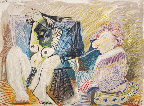 Pablo Picasso. Homme et femme (Man and Woman), 1967. Drawing (pastel, coloured pencil and wash on paper), 55.60 x 75.20 cm. Scottish National Gallery of Modern Art. © Succession Picasso/DACS, London 2015.