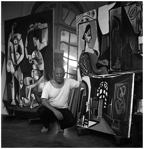 Lee Miller. Picasso with La Coiffure, Villa La Californie, France, 1956. Photograph: Lee Miller. © Lee Miller Archives, England 2015. All rights reserved. ©Succession Picasso/DACS, London 2015.