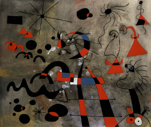 Joan Miró.<em> The Escape Ladder, </em>1940. Gouache, watercolour and ink on paper, 40 x 47.6 cm. Museum of Modern Art, New York. © Joan Miró and Fundació Joan Miró, Barcelona.